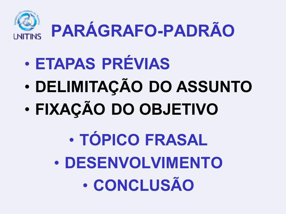 PARÁGRAFO-PADRÃO TÓPICO FRASAL DESENVOLVIMENTO CONCLUSÃO ETAPAS PRÉVIAS DELIMITAÇÃO DO ASSUNTO FIXAÇÃO DO OBJETIVO