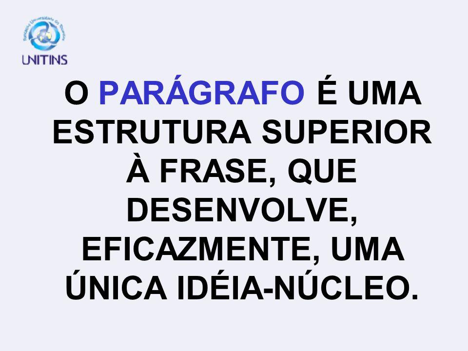 O PARÁGRAFO É UMA ESTRUTURA SUPERIOR À FRASE, QUE DESENVOLVE, EFICAZMENTE, UMA ÚNICA IDÉIA-NÚCLEO.