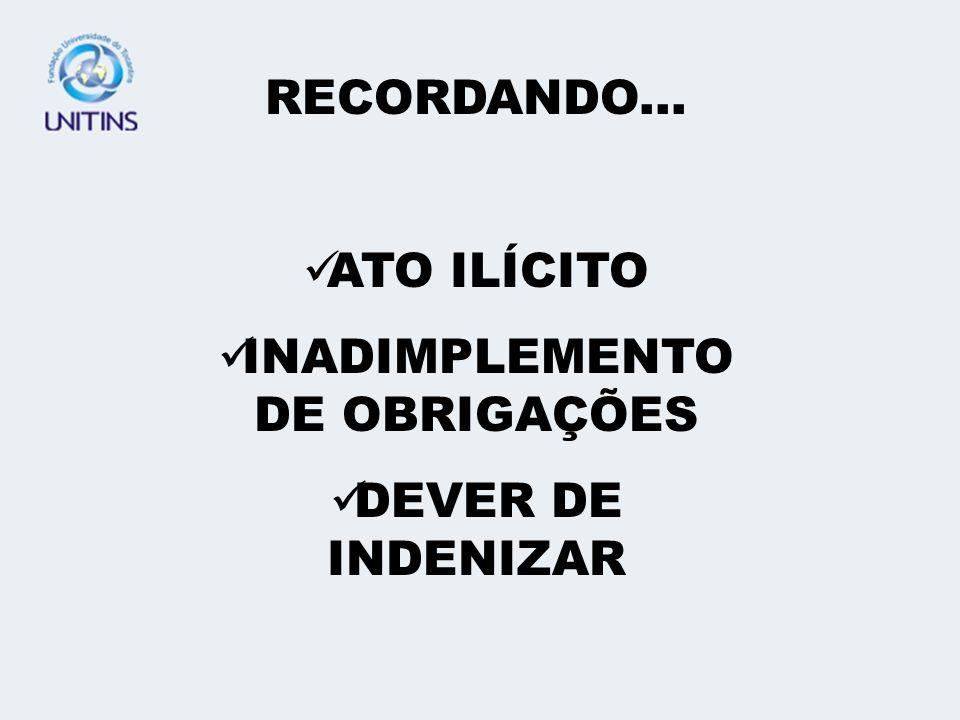 RECORDANDO... ATO ILÍCITO INADIMPLEMENTO DE OBRIGAÇÕES DEVER DE INDENIZAR