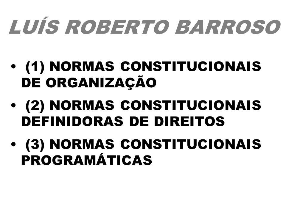 LUÍS ROBERTO BARROSO (1) NORMAS CONSTITUCIONAIS DE ORGANIZAÇÃO (2) NORMAS CONSTITUCIONAIS DEFINIDORAS DE DIREITOS (3) NORMAS CONSTITUCIONAIS PROGRAMÁT