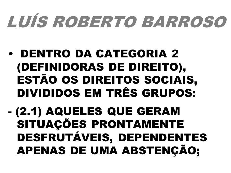 LUÍS ROBERTO BARROSO DENTRO DA CATEGORIA 2 (DEFINIDORAS DE DIREITO), ESTÃO OS DIREITOS SOCIAIS, DIVIDIDOS EM TRÊS GRUPOS: - (2.1) AQUELES QUE GERAM SI