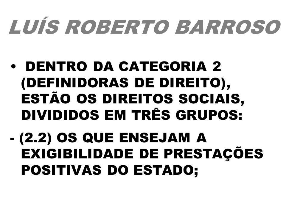 LUÍS ROBERTO BARROSO DENTRO DA CATEGORIA 2 (DEFINIDORAS DE DIREITO), ESTÃO OS DIREITOS SOCIAIS, DIVIDIDOS EM TRÊS GRUPOS: - (2.2) OS QUE ENSEJAM A EXI