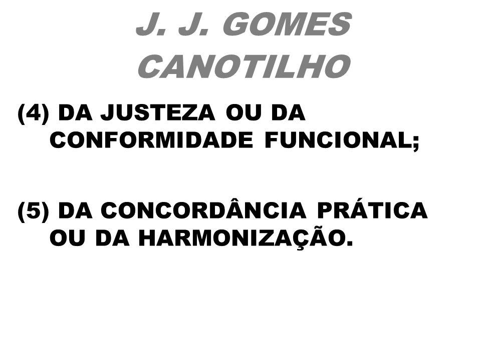 J. J. GOMES CANOTILHO (4) DA JUSTEZA OU DA CONFORMIDADE FUNCIONAL; (5) DA CONCORDÂNCIA PRÁTICA OU DA HARMONIZAÇÃO.