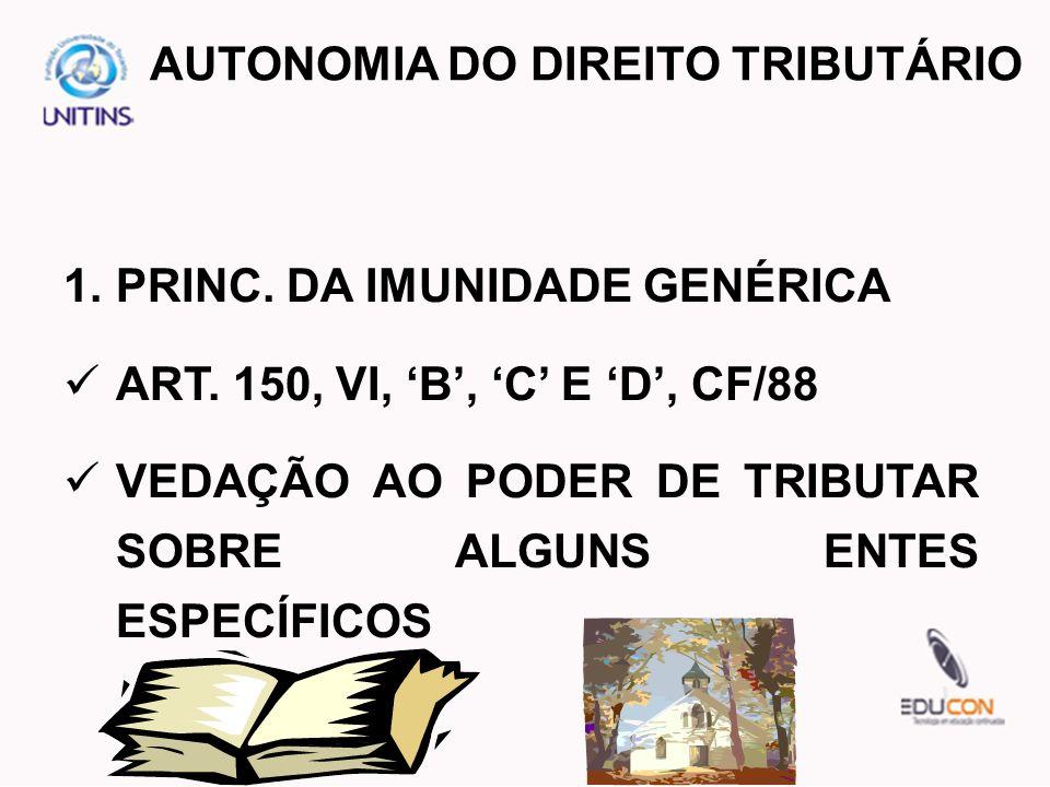 1.PRINC. DA IMUNIDADE GENÉRICA ART. 150, VI, B, C E D, CF/88 VEDAÇÃO AO PODER DE TRIBUTAR SOBRE ALGUNS ENTES ESPECÍFICOS AUTONOMIA DO DIREITO TRIBUTÁR