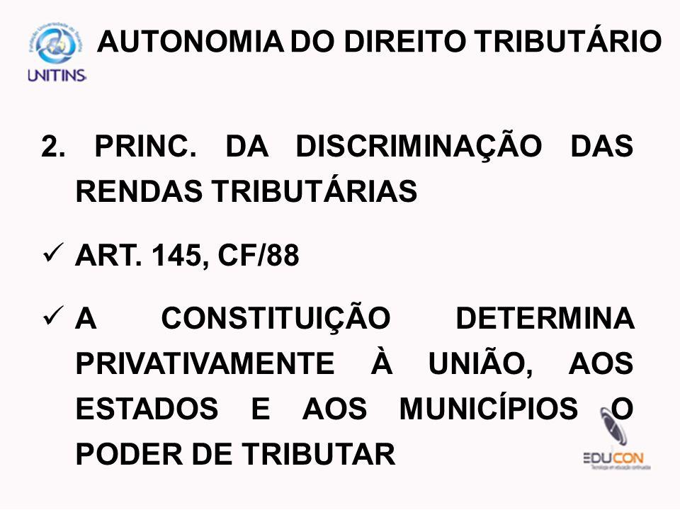 2. PRINC. DA DISCRIMINAÇÃO DAS RENDAS TRIBUTÁRIAS ART. 145, CF/88 A CONSTITUIÇÃO DETERMINA PRIVATIVAMENTE À UNIÃO, AOS ESTADOS E AOS MUNICÍPIOS O PODE