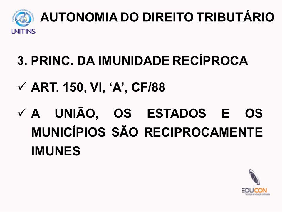 3. PRINC. DA IMUNIDADE RECÍPROCA ART. 150, VI, A, CF/88 A UNIÃO, OS ESTADOS E OS MUNICÍPIOS SÃO RECIPROCAMENTE IMUNES