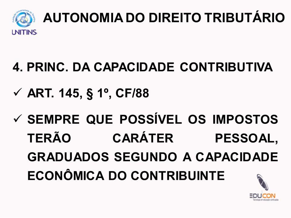 4. PRINC. DA CAPACIDADE CONTRIBUTIVA ART. 145, § 1º, CF/88 SEMPRE QUE POSSÍVEL OS IMPOSTOS TERÃO CARÁTER PESSOAL, GRADUADOS SEGUNDO A CAPACIDADE ECONÔ