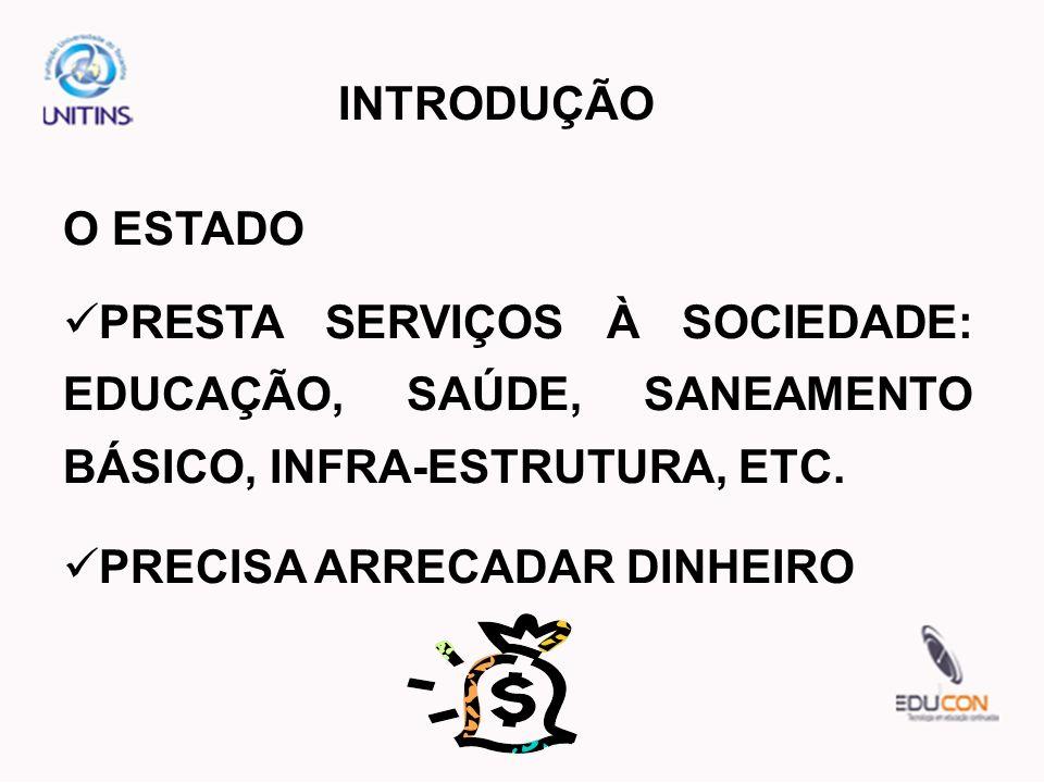 INTRODUÇÃO O ESTADO PRESTA SERVIÇOS À SOCIEDADE: EDUCAÇÃO, SAÚDE, SANEAMENTO BÁSICO, INFRA-ESTRUTURA, ETC. PRECISA ARRECADAR DINHEIRO