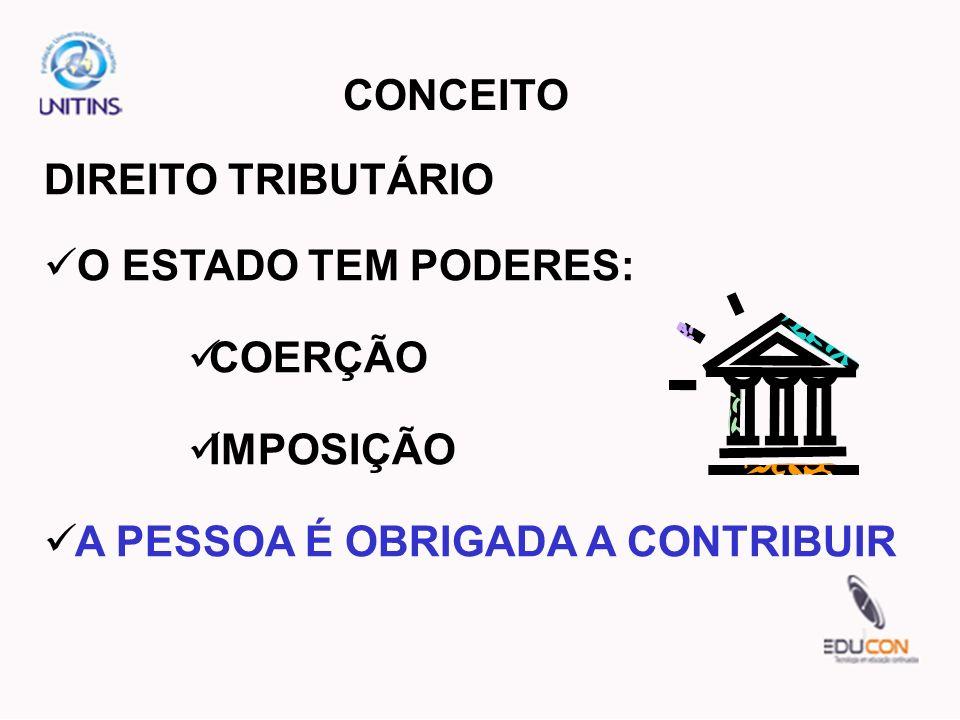 CONCEITO DIREITO TRIBUTÁRIO O ESTADO TEM PODERES: COERÇÃO IMPOSIÇÃO A PESSOA É OBRIGADA A CONTRIBUIR