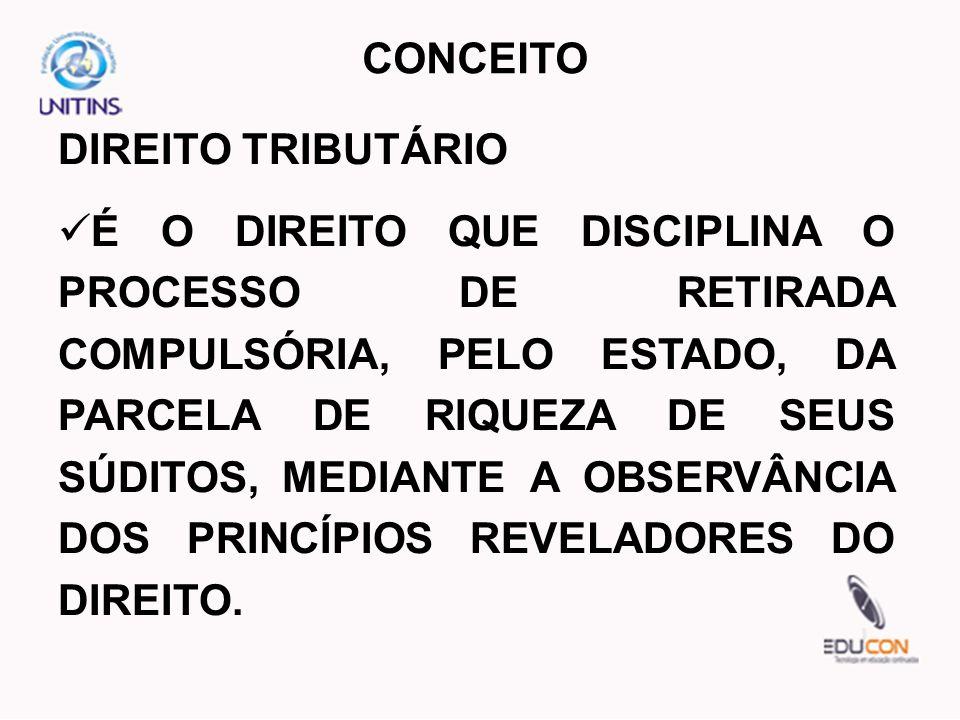 DIREITO TRIBUTÁRIO É O DIREITO QUE DISCIPLINA O PROCESSO DE RETIRADA COMPULSÓRIA, PELO ESTADO, DA PARCELA DE RIQUEZA DE SEUS SÚDITOS, MEDIANTE A OBSER