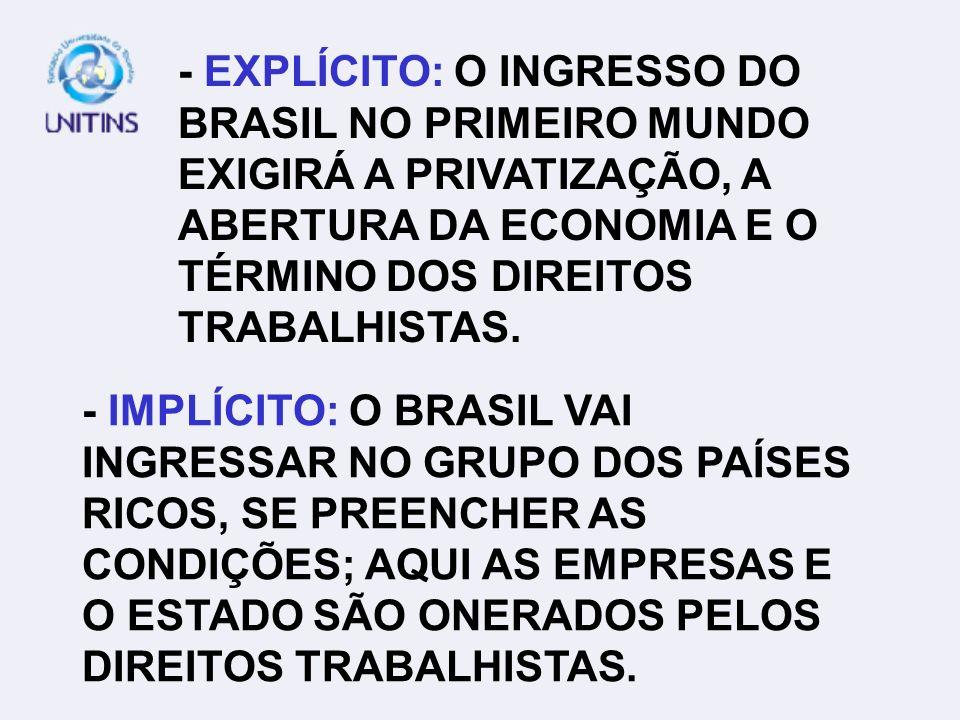 - EXPLÍCITO: O INGRESSO DO BRASIL NO PRIMEIRO MUNDO EXIGIRÁ A PRIVATIZAÇÃO, A ABERTURA DA ECONOMIA E O TÉRMINO DOS DIREITOS TRABALHISTAS. - IMPLÍCITO: