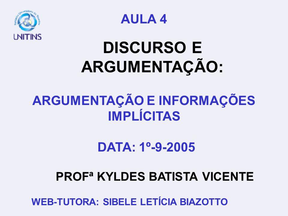 PROFª KYLDES BATISTA VICENTE DATA: 1º-9-2005 WEB-TUTORA: SIBELE LETÍCIA BIAZOTTO AULA 4 DISCURSO E ARGUMENTAÇÃO: ARGUMENTAÇÃO E INFORMAÇÕES IMPLÍCITAS