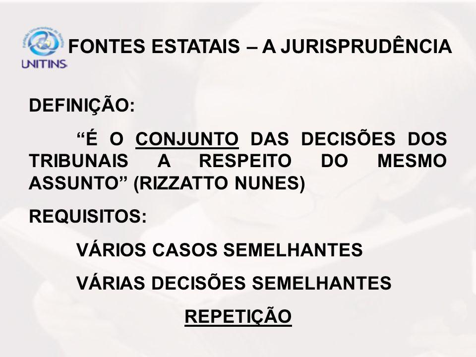 FONTES ESTATAIS – A JURISPRUDÊNCIA DEFINIÇÃO: É O CONJUNTO DAS DECISÕES DOS TRIBUNAIS A RESPEITO DO MESMO ASSUNTO (RIZZATTO NUNES) REQUISITOS: VÁRIOS