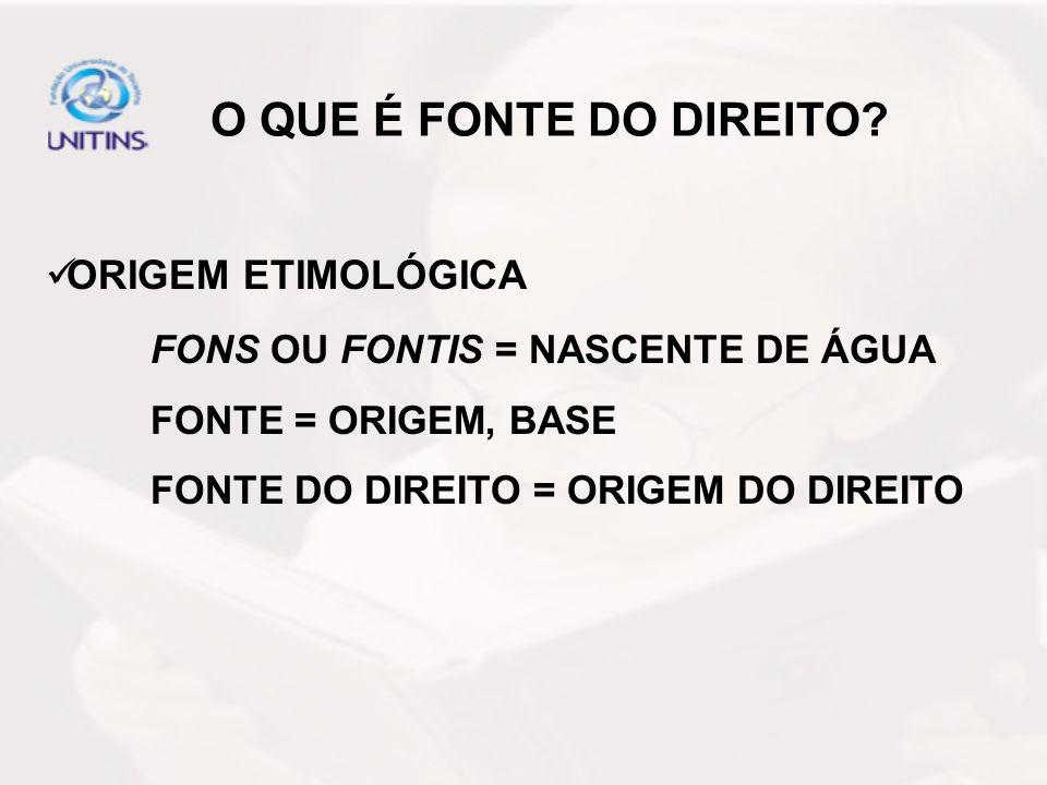 O QUE É FONTE DO DIREITO? ORIGEM ETIMOLÓGICA FONS OU FONTIS = NASCENTE DE ÁGUA FONTE = ORIGEM, BASE FONTE DO DIREITO = ORIGEM DO DIREITO