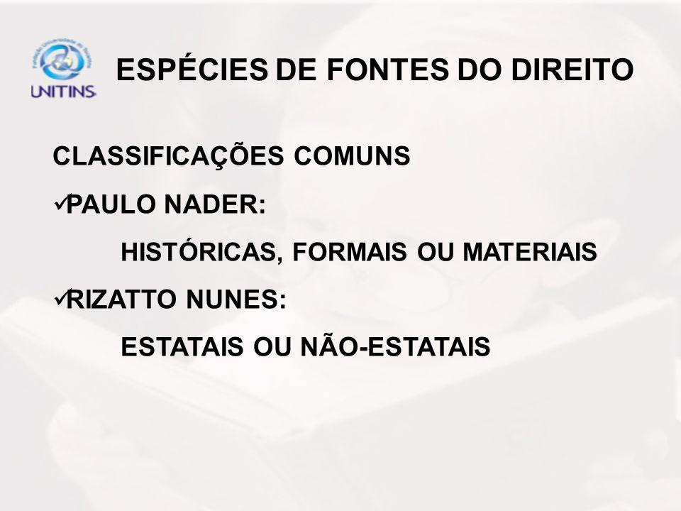 ESPÉCIES DE FONTES DO DIREITO CLASSIFICAÇÕES COMUNS PAULO NADER: HISTÓRICAS, FORMAIS OU MATERIAIS RIZATTO NUNES: ESTATAIS OU NÃO-ESTATAIS