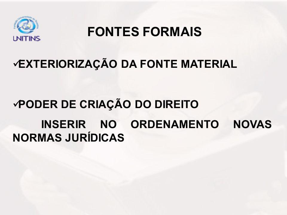 OUTRA CLASSIFICAÇÃO: FONTES DIRETAS – QUE GERAM O DIREITO (FONTES FORMAIS).