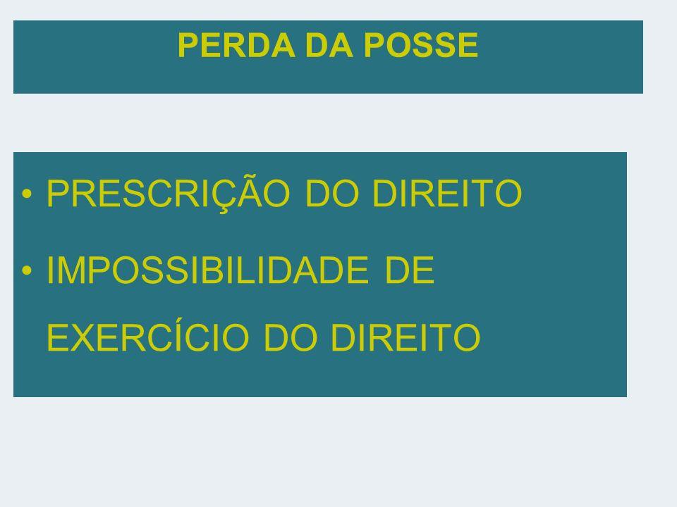 PERDA DA POSSE PRESCRIÇÃO DO DIREITO IMPOSSIBILIDADE DE EXERCÍCIO DO DIREITO