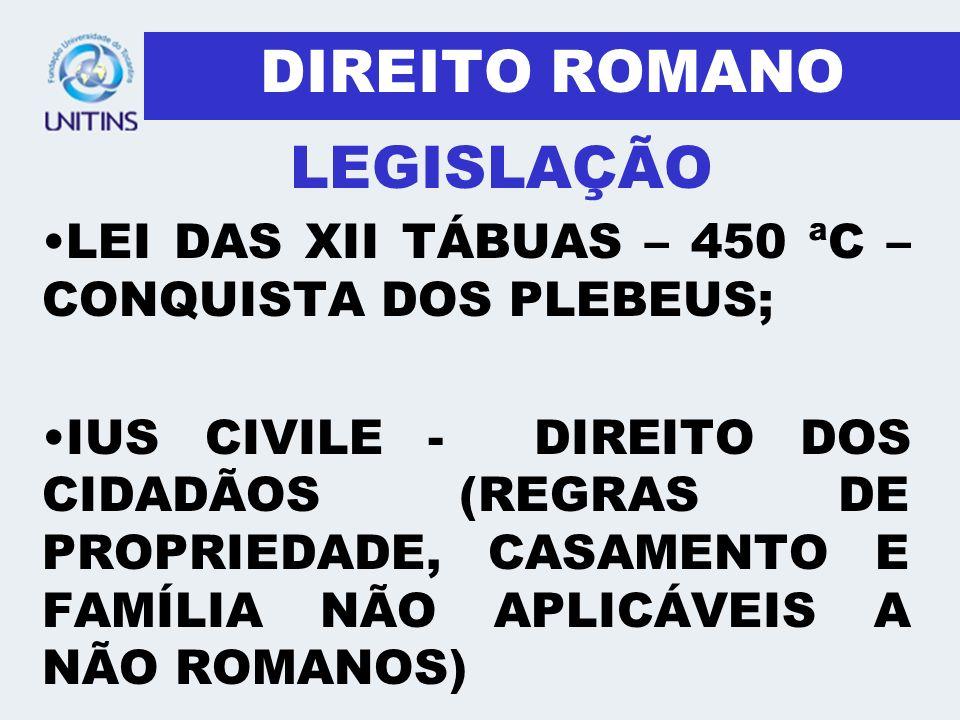 DIREITO ROMANO LEI DAS XII TÁBUAS – 450 ªC – CONQUISTA DOS PLEBEUS; IUS CIVILE - DIREITO DOS CIDADÃOS (REGRAS DE PROPRIEDADE, CASAMENTO E FAMÍLIA NÃO