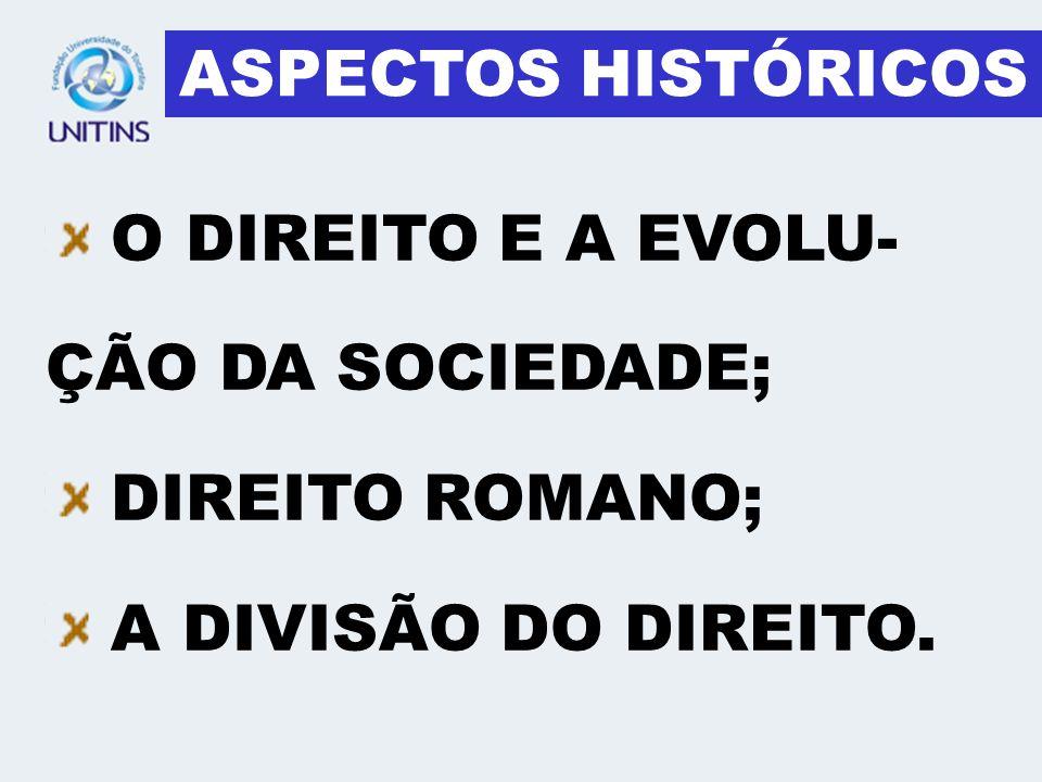 O DIREITO E A EVOLU- ÇÃO DA SOCIEDADE; DIREITO ROMANO; A DIVISÃO DO DIREITO. ASPECTOS HISTÓRICOS