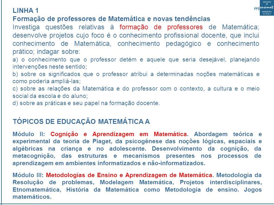 LINHA 3 Tecnologias da Informação e Comunicação na Educação Matemática Trata das questões relativas a integração das Tecnologias da Informação e Comunicação na Educação Matemática; tem focos na reorganização dos espaços e tempos escolares, na reestruturação curricular; nas mudanças do contrato didático; e no potencial das tecnologias da inteligência na construção do conhecimento.