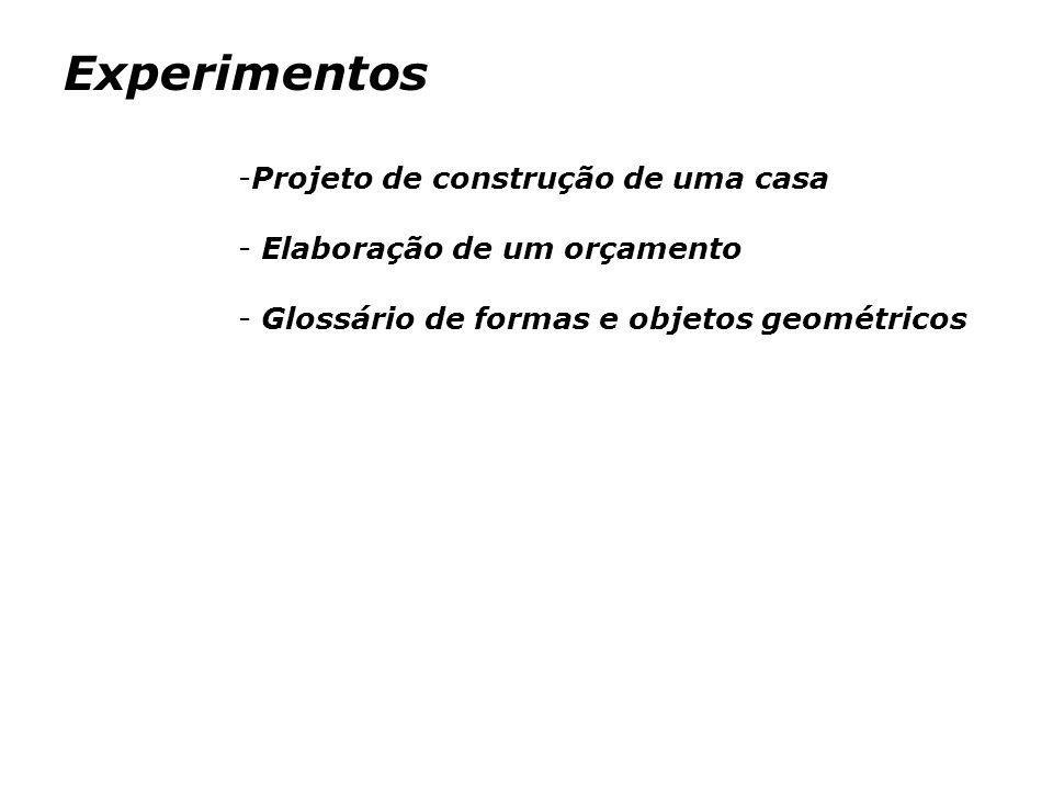 Experimentos -Projeto de construção de uma casa - Elaboração de um orçamento - Glossário de formas e objetos geométricos