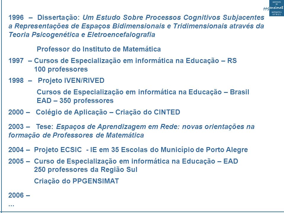 1996 – Dissertação: Um Estudo Sobre Processos Cognitivos Subjacentes a Representações de Espaços Bidimensionais e Tridimensionais através da Teoria Psicogenética e Eletroencefalografia Professor do Instituto de Matemática 1997 – Cursos de Especialização em informática na Educação – RS 100 professores 1998 – Projeto IVEN/RIVED Cursos de Especialização em informática na Educação – Brasil EAD – 350 professores 2000 – Colégio de Aplicação – Criação do CINTED 2003 – Tese: Espaços de Aprendizagem em Rede: novas orientações na formação de Professores de Matemática 2004 – Projeto ECSIC - IE em 35 Escolas do Município de Porto Alegre 2005 – Curso de Especialização em informática na Educação – EAD 250 professores da Região Sul Criação do PPGENSIMAT 2006 –...