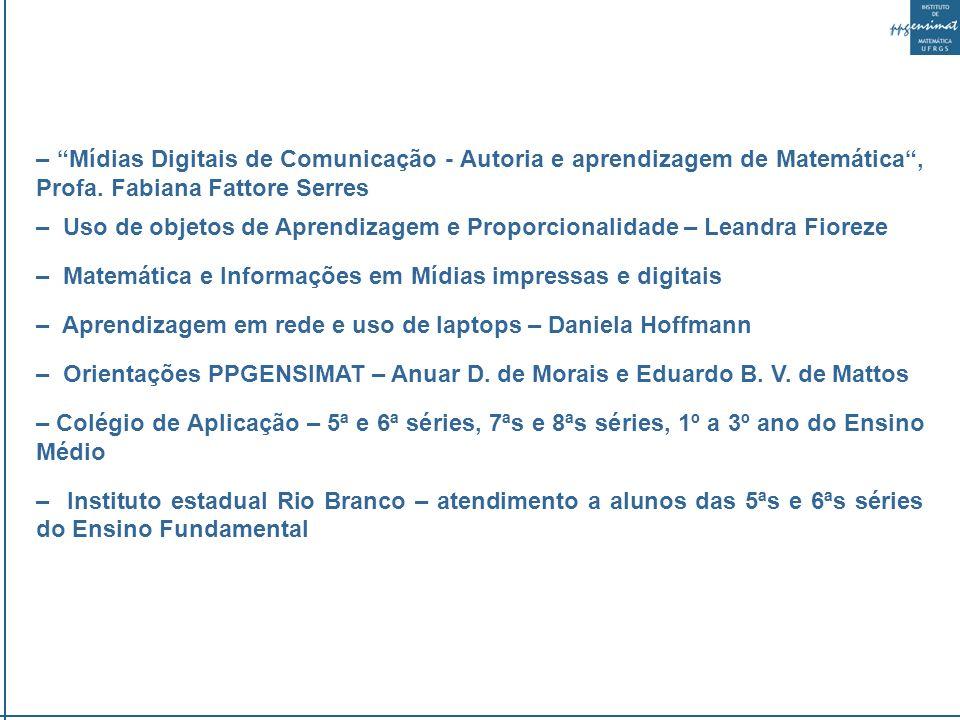 – Mídias Digitais de Comunicação - Autoria e aprendizagem de Matemática, Profa.