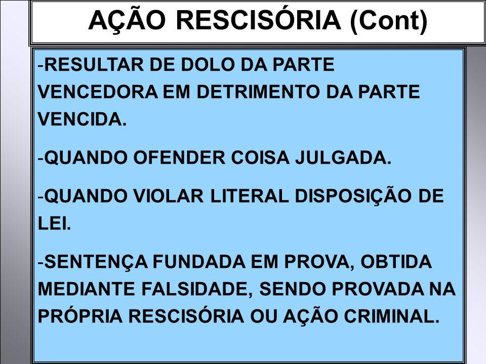 AÇÃO RESCISÓRIA (Cont) -RESULTAR DE DOLO DA PARTE VENCEDORA EM DETRIMENTO DA PARTE VENCIDA.