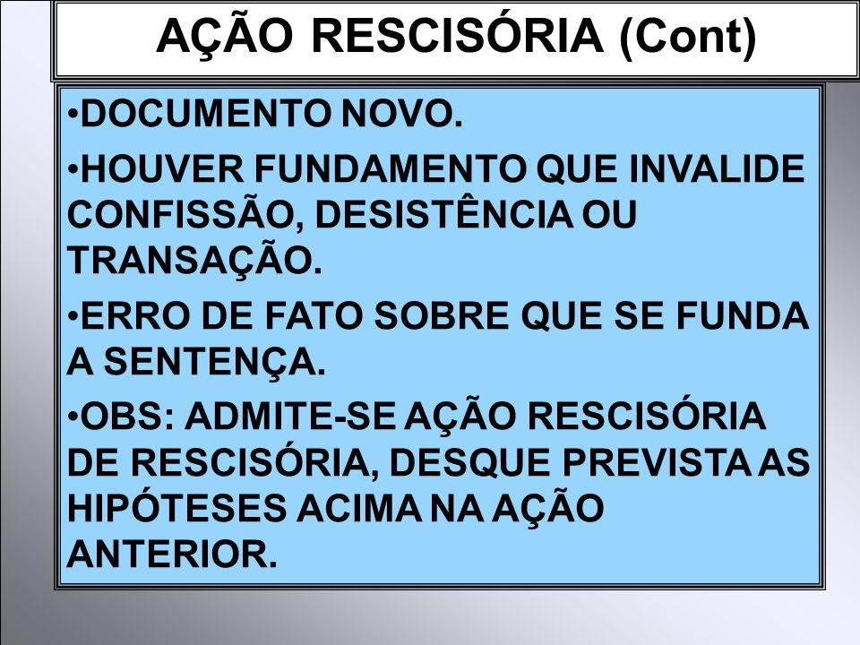 AÇÃO RESCISÓRIA (Cont) DOCUMENTO NOVO.