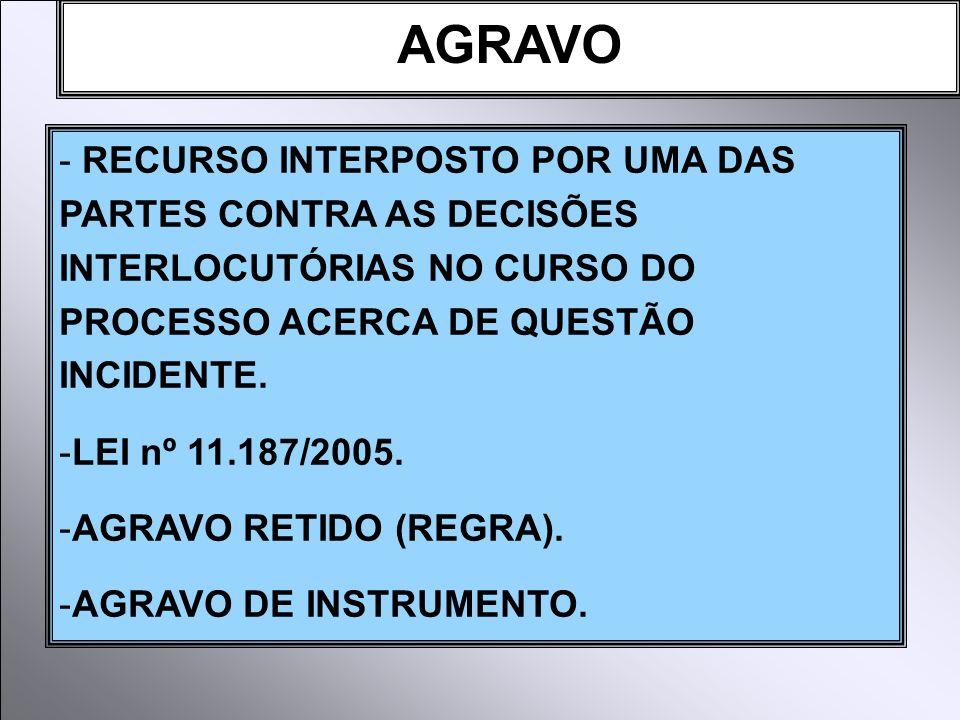 AGRAVO - RECURSO INTERPOSTO POR UMA DAS PARTES CONTRA AS DECISÕES INTERLOCUTÓRIAS NO CURSO DO PROCESSO ACERCA DE QUESTÃO INCIDENTE.