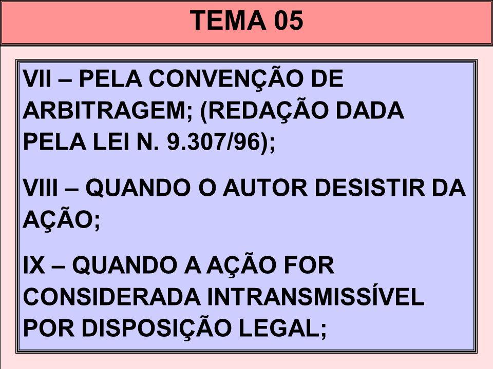 TEMA 05 VII – PELA CONVENÇÃO DE ARBITRAGEM; (REDAÇÃO DADA PELA LEI N. 9.307/96); VIII – QUANDO O AUTOR DESISTIR DA AÇÃO; IX – QUANDO A AÇÃO FOR CONSID