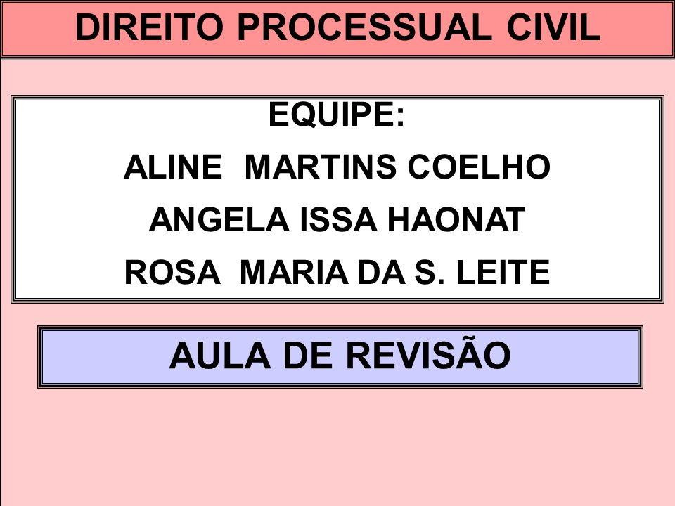 DIREITO PROCESSUAL CIVIL I EQUIPE: ALINE MARTINS COELHO ANGELA ISSA HAONAT ROSA MARIA DA S. LEITE AULA DE REVISÃO DIREITO PROCESSUAL CIVIL