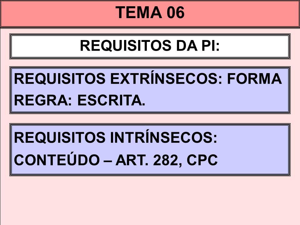 TEMA 06 REQUISITOS DA PI: REQUISITOS EXTRÍNSECOS: FORMA REGRA: ESCRITA. REQUISITOS INTRÍNSECOS: CONTEÚDO – ART. 282, CPC