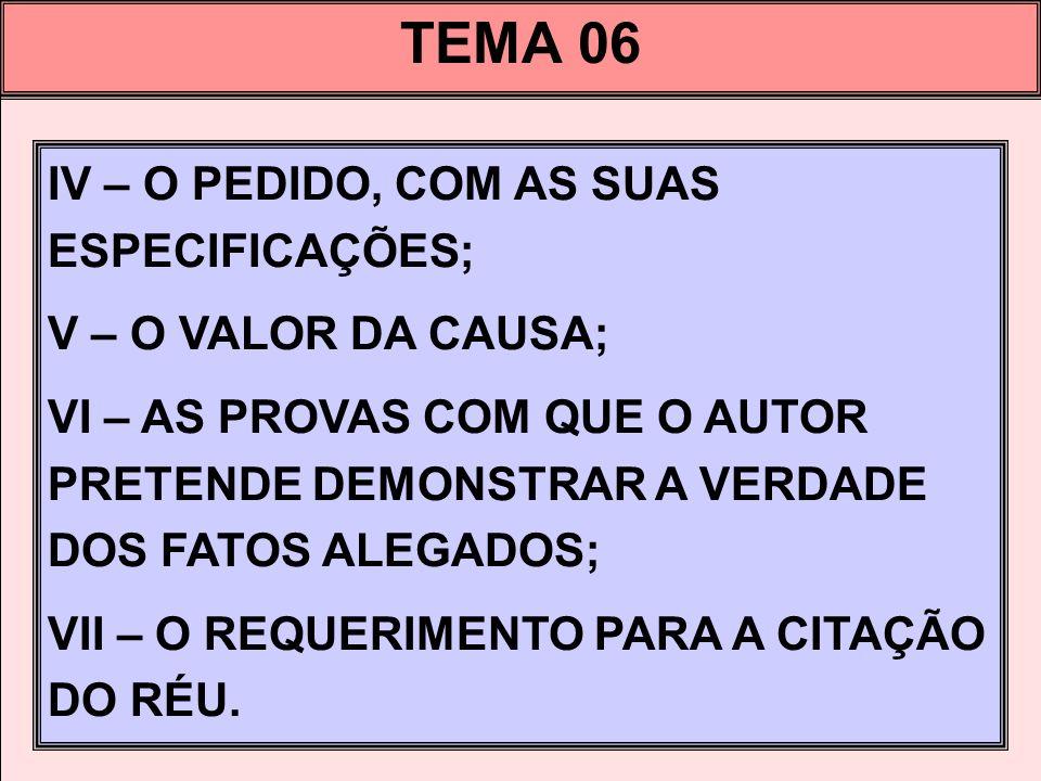 TEMA 06 IV – O PEDIDO, COM AS SUAS ESPECIFICAÇÕES; V – O VALOR DA CAUSA; VI – AS PROVAS COM QUE O AUTOR PRETENDE DEMONSTRAR A VERDADE DOS FATOS ALEGAD