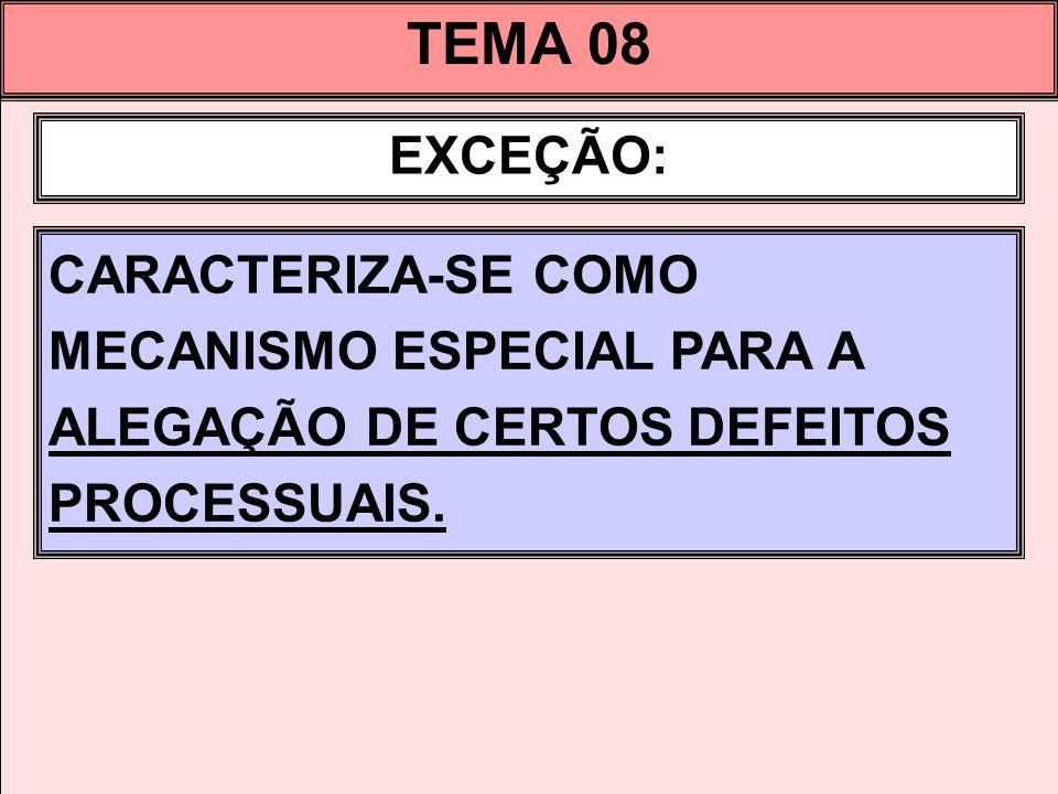 TEMA 08 EXCEÇÃO: CARACTERIZA-SE COMO MECANISMO ESPECIAL PARA A ALEGAÇÃO DE CERTOS DEFEITOS PROCESSUAIS.