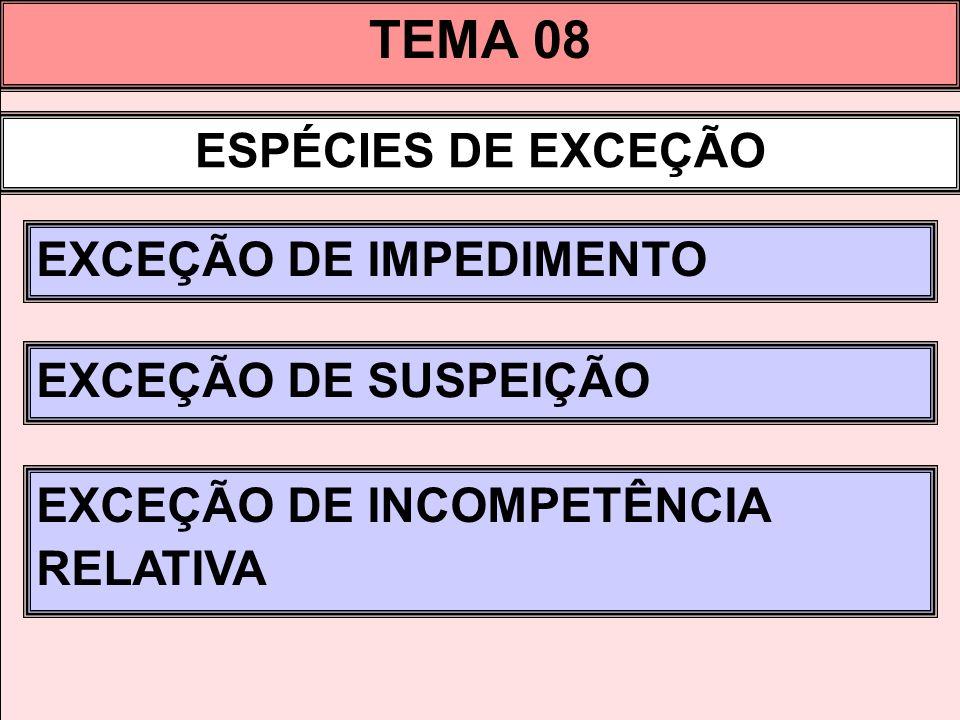 TEMA 08 ESPÉCIES DE EXCEÇÃO EXCEÇÃO DE IMPEDIMENTO EXCEÇÃO DE SUSPEIÇÃO EXCEÇÃO DE INCOMPETÊNCIA RELATIVA