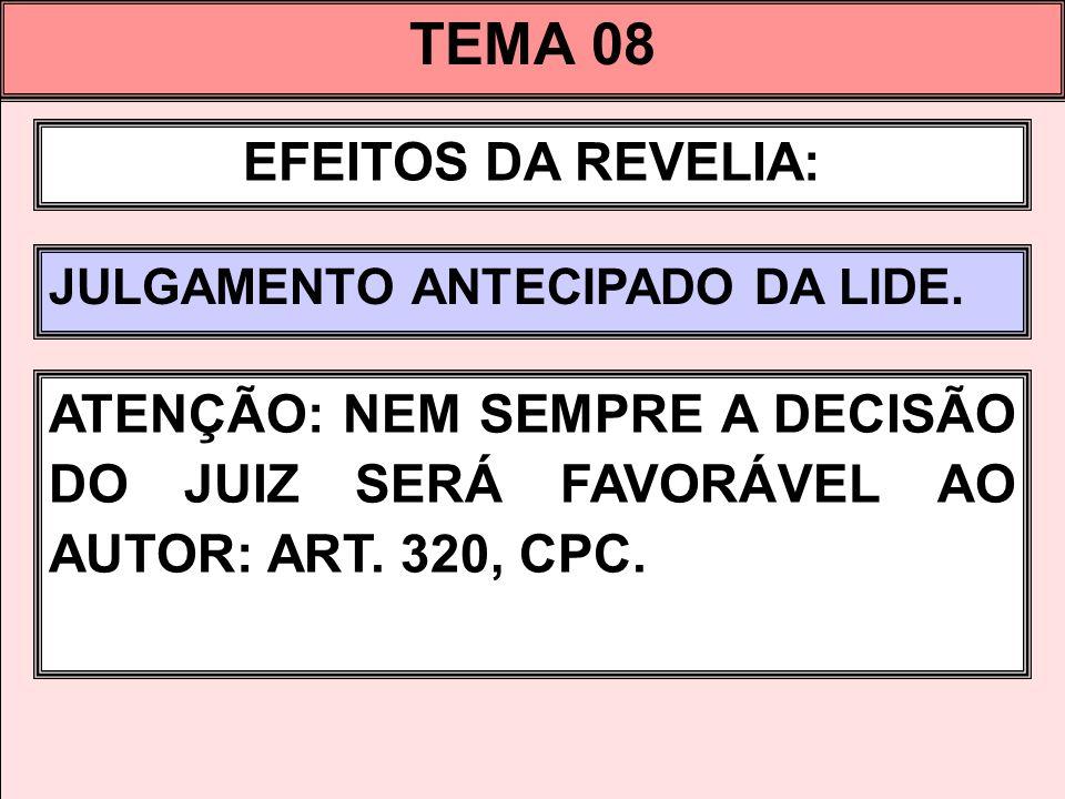 TEMA 08 EFEITOS DA REVELIA: JULGAMENTO ANTECIPADO DA LIDE.