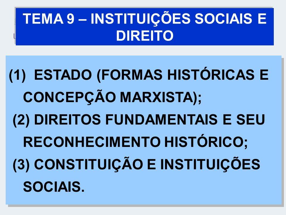 TEMA 9 – INSTITUIÇÕES SOCIAIS E DIREITO (1) ESTADO (FORMAS HISTÓRICAS E CONCEPÇÃO MARXISTA); (2) DIREITOS FUNDAMENTAIS E SEU RECONHECIMENTO HISTÓRICO;