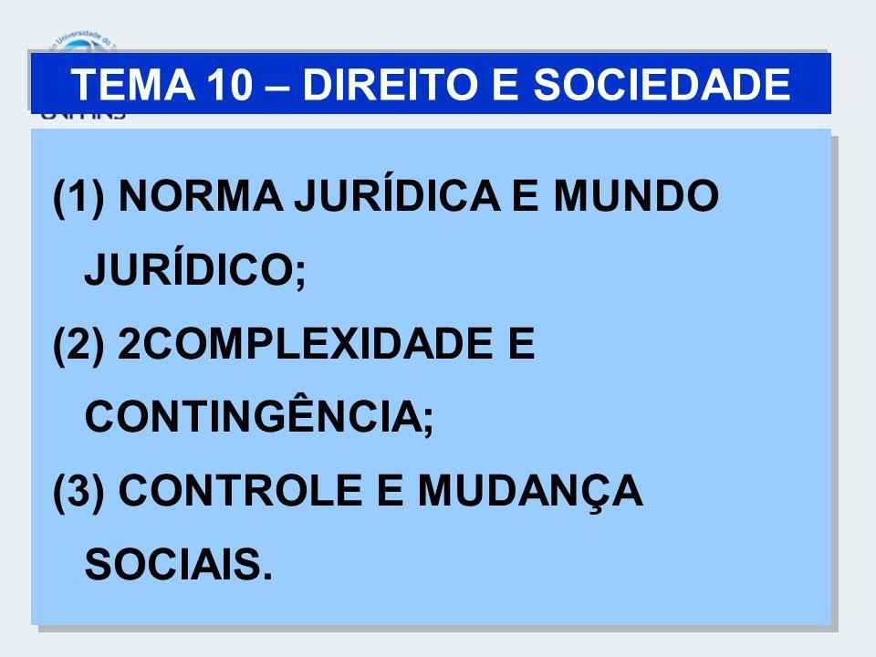 TEMA 10 – DIREITO E SOCIEDADE (1) NORMA JURÍDICA E MUNDO JURÍDICO; (2) 2COMPLEXIDADE E CONTINGÊNCIA; (3) CONTROLE E MUDANÇA SOCIAIS. (1) NORMA JURÍDIC