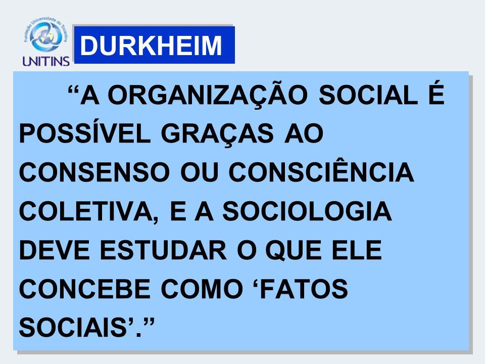 A ORGANIZAÇÃO SOCIAL É POSSÍVEL GRAÇAS AO CONSENSO OU CONSCIÊNCIA COLETIVA, E A SOCIOLOGIA DEVE ESTUDAR O QUE ELE CONCEBE COMO FATOS SOCIAIS. DURKHEIM