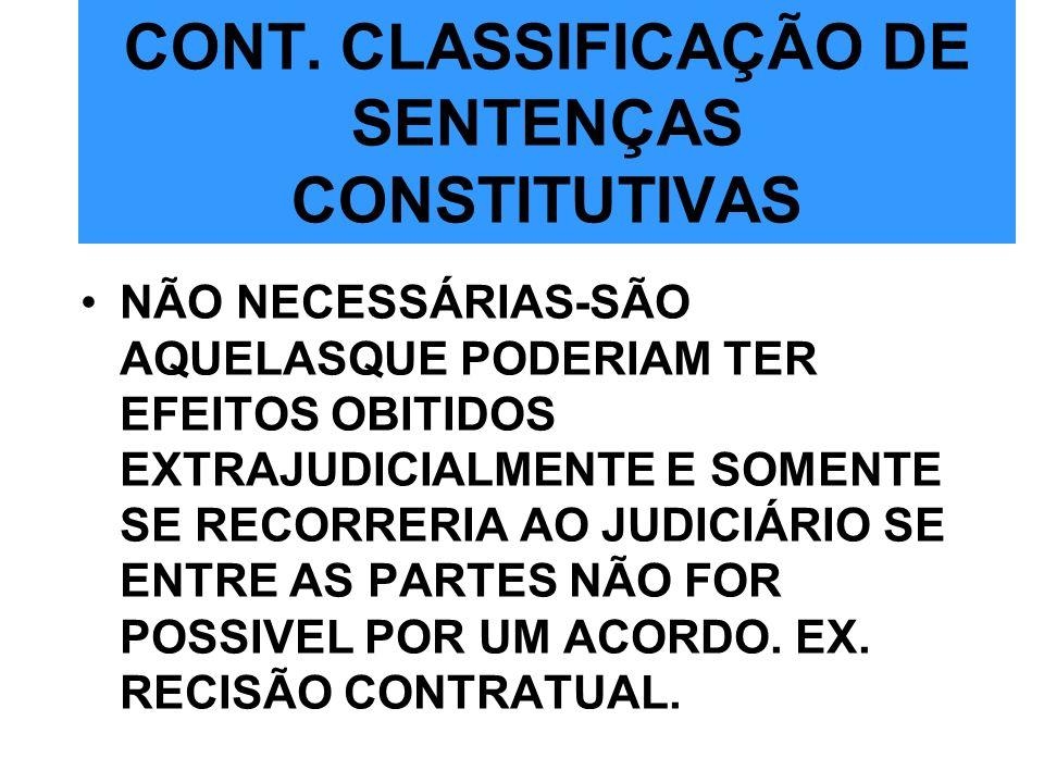 CONT. CLASSIFICAÇÃO DE SENTENÇAS CONSTITUTIVAS NÃO NECESSÁRIAS-SÃO AQUELASQUE PODERIAM TER EFEITOS OBITIDOS EXTRAJUDICIALMENTE E SOMENTE SE RECORRERIA
