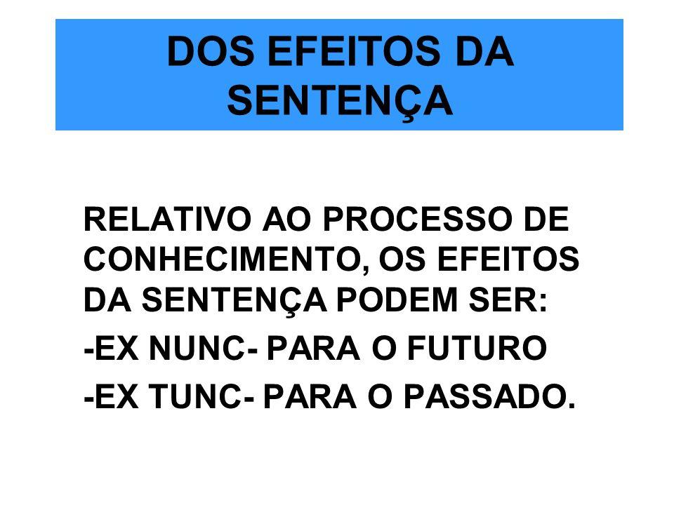 DOS EFEITOS DA SENTENÇA RELATIVO AO PROCESSO DE CONHECIMENTO, OS EFEITOS DA SENTENÇA PODEM SER: -EX NUNC- PARA O FUTURO -EX TUNC- PARA O PASSADO.