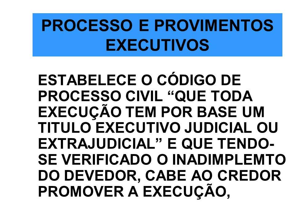 PROCESSO E PROVIMENTOS EXECUTIVOS ESTABELECE O CÓDIGO DE PROCESSO CIVIL QUE TODA EXECUÇÃO TEM POR BASE UM TITULO EXECUTIVO JUDICIAL OU EXTRAJUDICIAL E