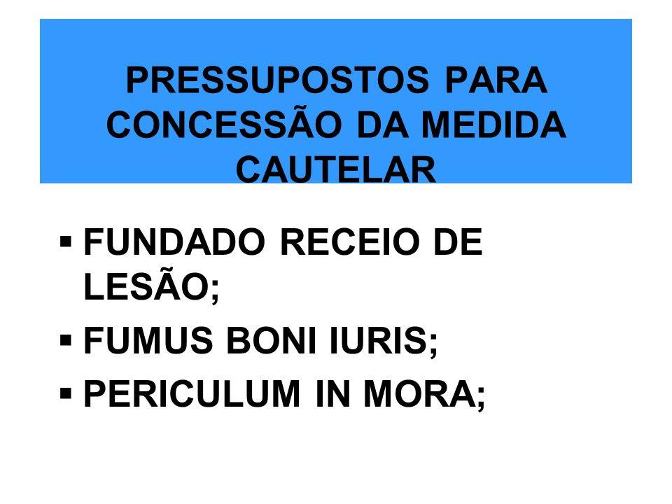 PRESSUPOSTOS PARA CONCESSÃO DA MEDIDA CAUTELAR FUNDADO RECEIO DE LESÃO; FUMUS BONI IURIS; PERICULUM IN MORA;