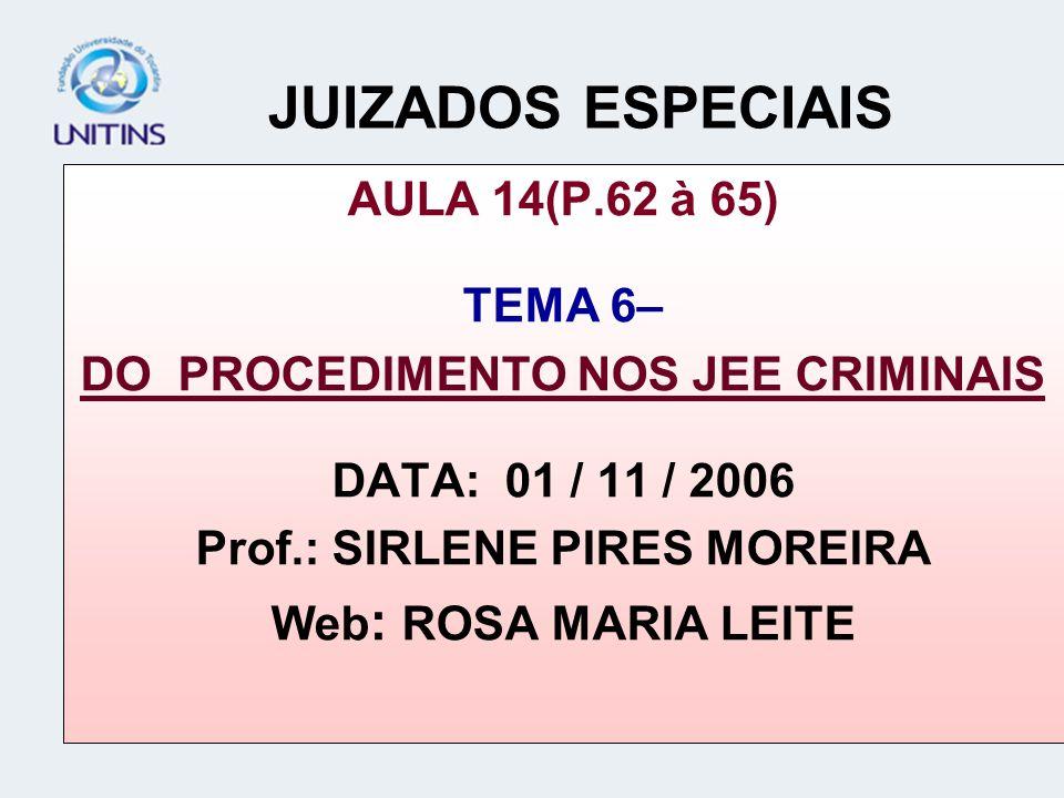 JUIZADOS ESPECIAIS AULA 14(P.62 à 65) TEMA 6– DO PROCEDIMENTO NOS JEE CRIMINAIS DATA: 01 / 11 / 2006 Prof.: SIRLENE PIRES MOREIRA Web : ROSA MARIA LEI