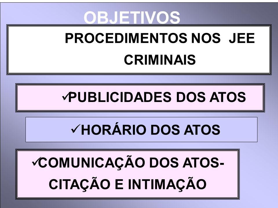 PROCEDIMENTOS NOS JEE CRIMINAIS PUBLICIDADES DOS ATOS COMUNICAÇÃO DOS ATOS- CITAÇÃO E INTIMAÇÃO HORÁRIO DOS ATOS OBJETIVOS