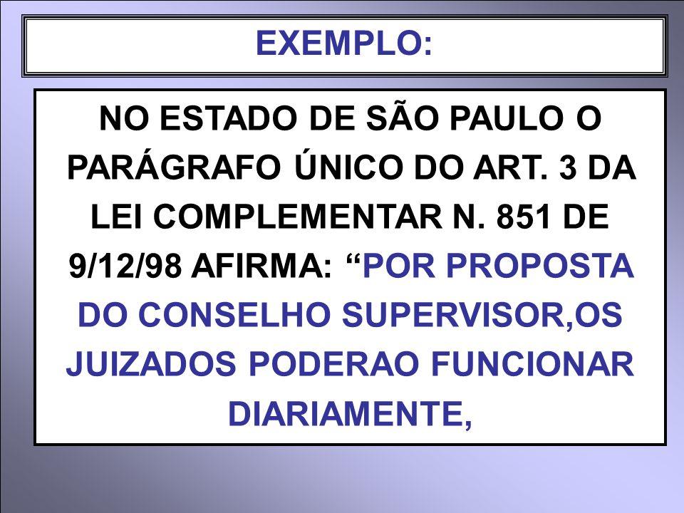 EXEMPLO: NO ESTADO DE SÃO PAULO O PARÁGRAFO ÚNICO DO ART. 3 DA LEI COMPLEMENTAR N. 851 DE 9/12/98 AFIRMA: POR PROPOSTA DO CONSELHO SUPERVISOR,OS JUIZA