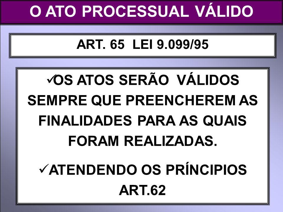 ART. 65 LEI 9.099/95 OS ATOS SERÃO VÁLIDOS SEMPRE QUE PREENCHEREM AS FINALIDADES PARA AS QUAIS FORAM REALIZADAS. ATENDENDO OS PRÍNCIPIOS ART.62 O ATO