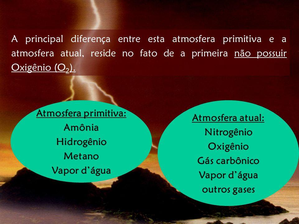 A principal diferença entre esta atmosfera primitiva e a atmosfera atual, reside no fato de a primeira não possuir Oxigênio (O 2 ). Atmosfera primitiv