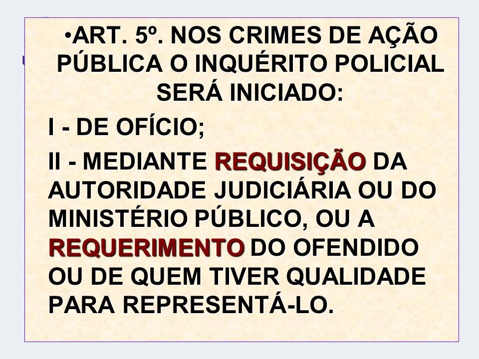 ART. 5º. NOS CRIMES DE AÇÃO PÚBLICA O INQUÉRITO POLICIAL SERÁ INICIADO:ART. 5º. NOS CRIMES DE AÇÃO PÚBLICA O INQUÉRITO POLICIAL SERÁ INICIADO: I - DE